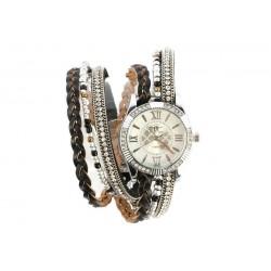 Montre Femme Bracelet Cristal Double Tour Marron Kelly