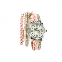 Montre Femme Bracelet Double Tour Cristal Rose Kelly
