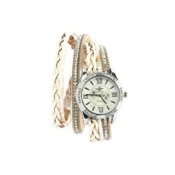 Montre Femme Bracelet Double Tour Cristal Blanc Kelly