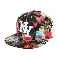 Snapback NY Noire Fleur Rouge et Bleu