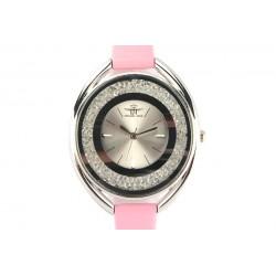 Montre Femme fin bracelet cuir Rose Star