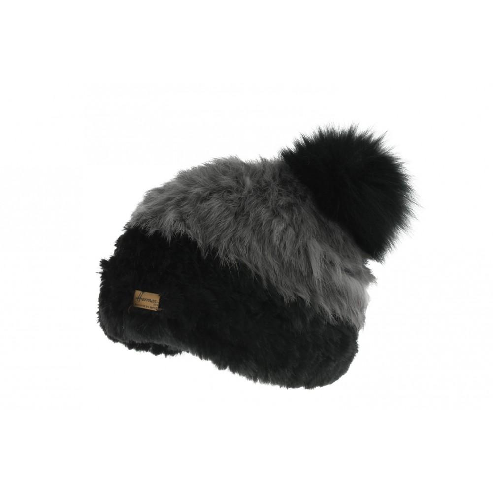 Bonnet Fourrure Lapin Noir Accola Herman