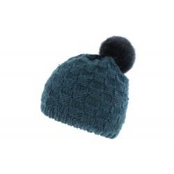 Bonnet pompon fourrure bleu Lony Herman