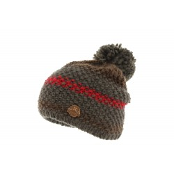 Bonnet Pompon Marron et Rouge Vercors R Mountain