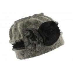 Bonnet toque gris et noir Paula pour femme