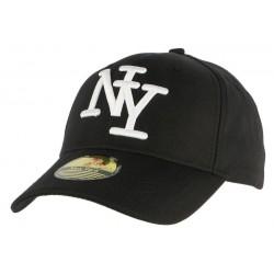 Casquette Baseball NY Noir et blanche Chevrons