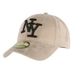 Casquette Baseball NY Grise façon daim