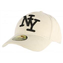 Casquette Baseball NY Blanche façon daim