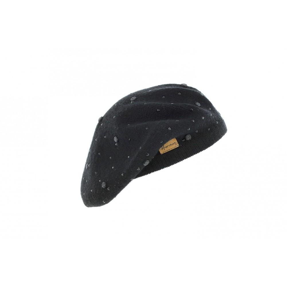 beret femme noir avec strass albina herman b ret chic livr 48h. Black Bedroom Furniture Sets. Home Design Ideas