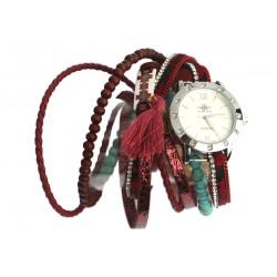 Montre bracelet double tour rouge et turquoise Tella