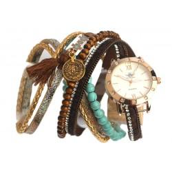 Montre bracelet double tour Marron et turquoise Tella
