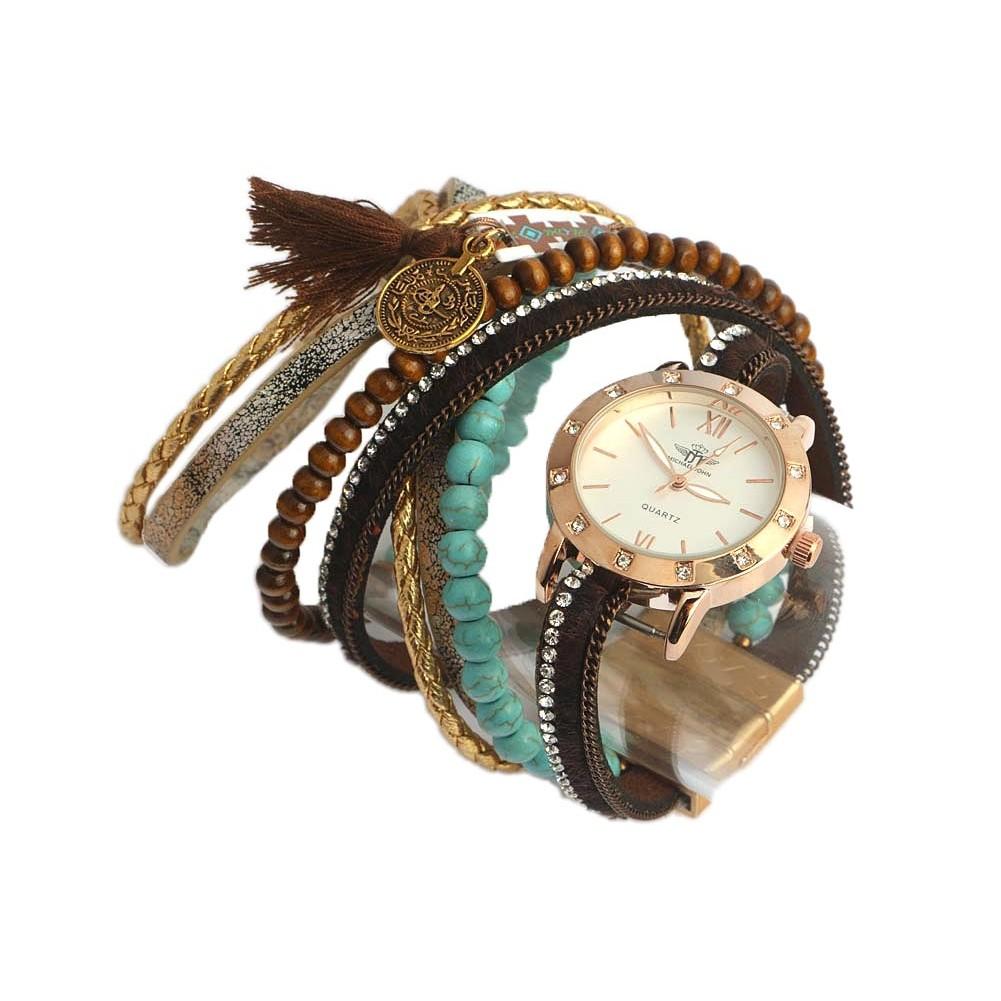 montre bracelet double tour marron tella montre chic livr en 48h. Black Bedroom Furniture Sets. Home Design Ideas