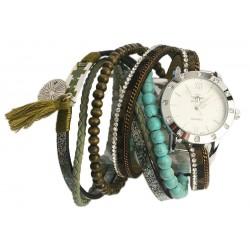 Montre bracelet double tour Verte et Turquoise Tella