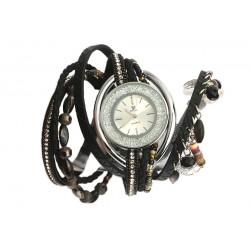 Montre femme fantaisie bracelet double Noir Alya