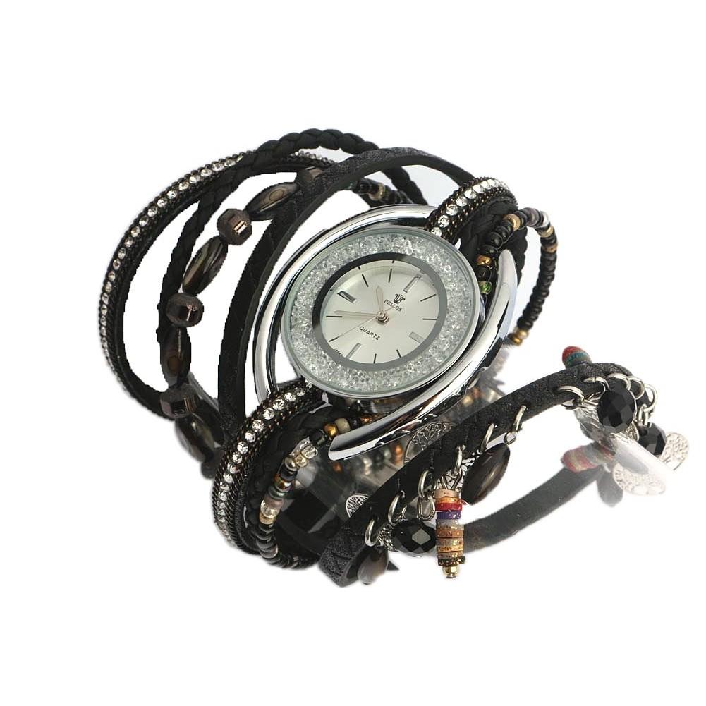 montre femme fantaisie bracelet double noir montre chic livr 48h. Black Bedroom Furniture Sets. Home Design Ideas