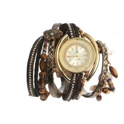 Montre femme fantaisie bracelet double Marron Alya