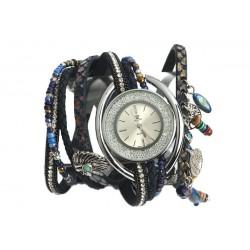 Montre femme fantaisie bracelet double Bleu Alya