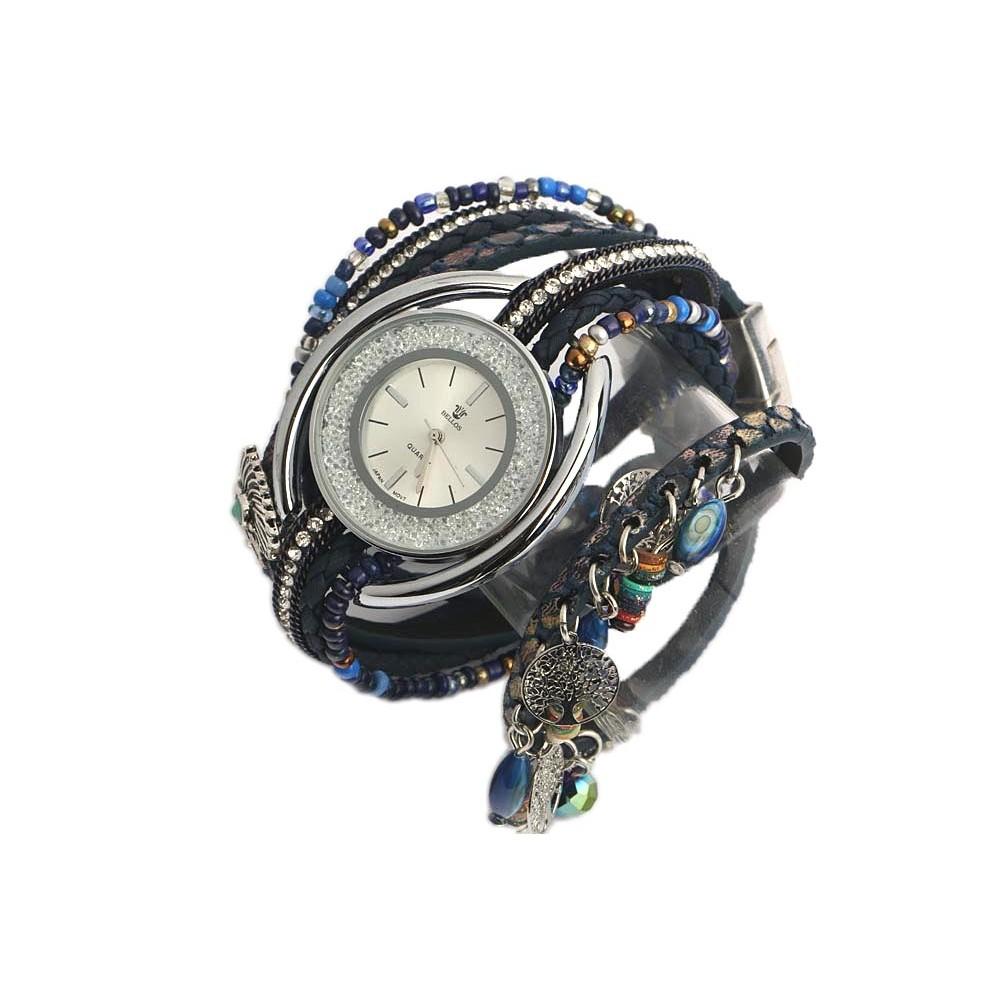 montre femme fantaisie bleu alya montre bracelet double livr en 48h. Black Bedroom Furniture Sets. Home Design Ideas