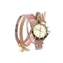 Montre Fantaisie Femme bracelet double Rose Myu