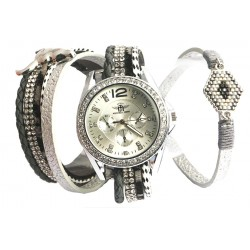 Montre femme bracelet double Grise Mylta
