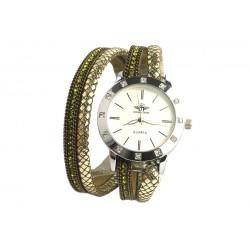 Montre Bracelet double tour vert Strass Jaly