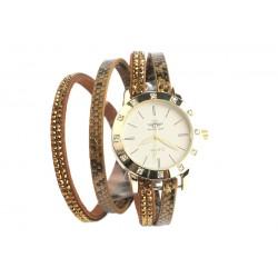 Montre Bracelet double tour Doré Strass Jaly