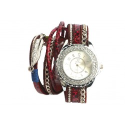 Montre bracelet fantaisie Rouge Lorya