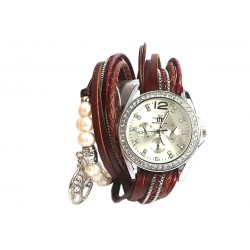 Montre Double Tour Rouge strass Oda