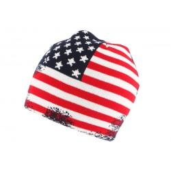 Bonnet Usa Vintage blanc Rouge et Bleu