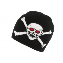 Bonnet Biker Noir Pirate Yeux Rouges