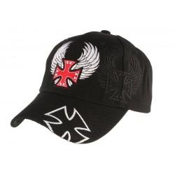 Casquette Biker Noire Croix de malte Rouge