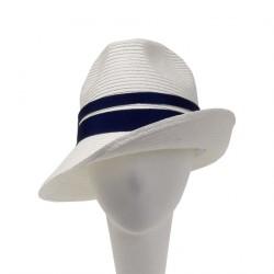 Chapeau Mariage blanc et Bleu Tropez par Céline Robert