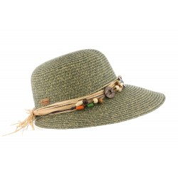 Chapeau de paille fantaisie Vert Femme Sylia
