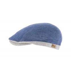 Casquette lin bleu et gris Herman