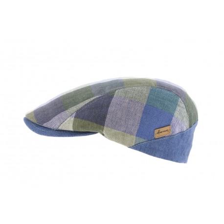 Casquette plate patchwork Bleu Herman