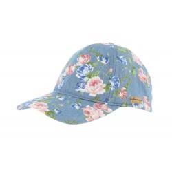 Casquette baseball bleu fleurs rose Tanaka