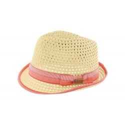 Chapeau trilby paille rouge Don Camino