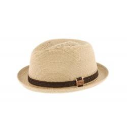 Petit chapeau paille porkpie beige Ricco