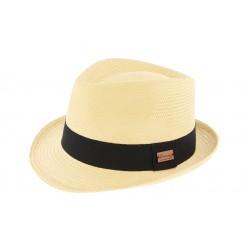 Chapeau de paille noir et beige Evans