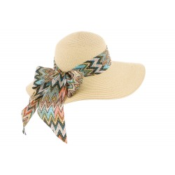 Grand chapeau paille femme beige Ester