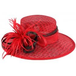 Chapeau mariage rouge à pois noir Claridge