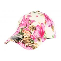 Casquette baseball beige et rose à fleurs