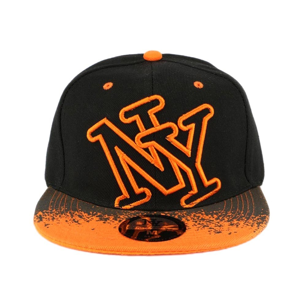 casquette ny orange et noir tag snapback tendance livraison en 48h. Black Bedroom Furniture Sets. Home Design Ideas