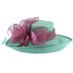 Chapeau Cérémonie Airelle en sisal turquoise et fuschia