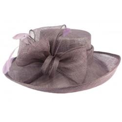 Chapeau Cérémonie Airelle en sisal violet