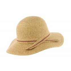 Chapeau de Paille Femme Beige et Rouge Herman
