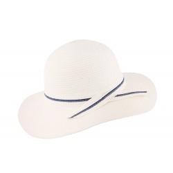 Chapeau de paille femme blanc et bleu Herman