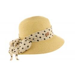 Chapeau de paille femme foulard pois noir Delucia