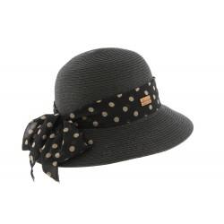 chapeau de paille femme noir avec foulard Delucia