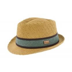 Chapeau de paille beige et bleu Gio Herman